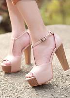 Fashion sexy ultra high heels sandals thick platform heels shoes open toe cutout vintage princess shoes