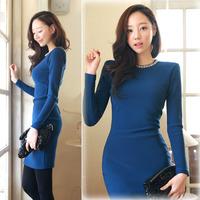 2014 spring and autumn fashion star style quality slim one-piece dress shoulder pads basic slim ol one-piece dress