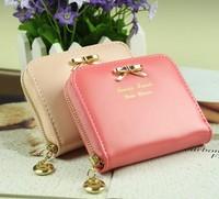 New 2014 fashion women female patent leather zipper bow mini coin purse case wallets carteira feminina,Free Shipping x