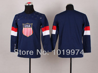 Kid Team USA Hockey Jersey For Sochi 2014 Winter Olympic 2014 Team USA Olympic Blank Jersey Navy Blue size S M L XL FreeShipping
