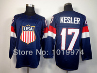 Newest Sochi 2014 Winter Olympic Team USA Hockey Jersey #17 Ryan Kesler Navy Blue size M-XXXL Name Number LOGO Embroidered