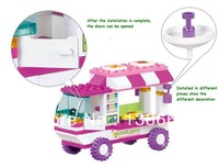 Sluban Retail Food Truck 102pcs 2 Minifigures Learning&Educational Bricks Building Block Girl toy compatible with lego