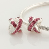 High Quality 925 Sterling Silver Pink Inlaid Cross Type Bead Charms compatible with pandora snake chain XS183A