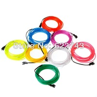 100M/lot Lemon/Red/Yellow/Green/White/Blue/Purple/Pink Flexible Neon Light EL Wire glowing Rope Tube Free Shipping