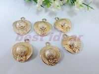 Trendy 50PCS  Sun hat  charms Pendant  Jewelry Findings,Accessories,Vintage charm,pendant,Alloy Rose gold Charms,Free Shipping