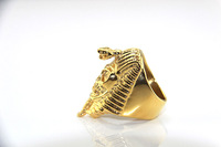 Free shipping 14k gold-plated egyptian pharaoh skull ring gold ring