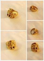 Free shipping Golden 14k polishing anchor ring