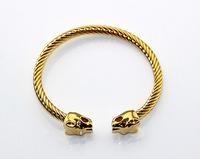 Free shipping 14k gold-plated leopard head bracelet kream black scale
