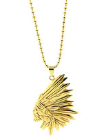 Free shipping Gold plated skull 24k indian chief x  necklace