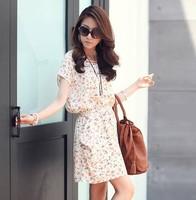 Flower printed short sleeve casual vintage dresses 2014 New Fashion summer women's batwing sleeve plus size chiffon full dress