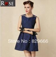 Women's 2014 autumn and winter fashion vintage quality jacquard neckline slim sleeveless one-piece dress ---1329