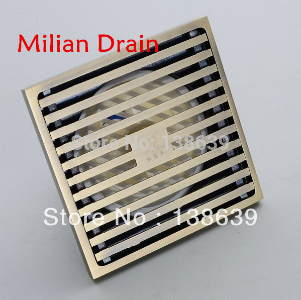 free shipping Antique Brass Euro Style Carved Art Carved Floor Drain Shower Waste Drainer,luxury family,high-end bathroom drain(China (Mainland)