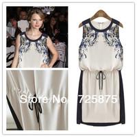 New 2014 Printed Dress Summer Women's clothing Pinched Waist Chiffon Casual Dress Women Sleeveless dress Knee Length Vintage