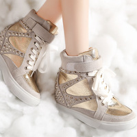 2013 genuine leather wedges rivet elevator women's shoes casual shoes cowhide boots