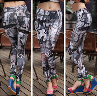 Spring 2014 New Fashion pants capris Printed Leggings Retro character sketches painted lululemon for women