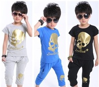 new 2014 summer boy clothing leisure sets wholesale kids children baby outerwear skeleton track suit 5 sets/lot