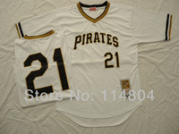 MLB Pittsburgh Pirates #21 Clemente White 1971th Throwback M&N Baseball Jerseys Authentic Jersey Free Shipping