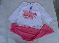 Free Shipping 2014 Fashion Spring And Autumn Peppa Pig Cotton Pajamas For Men And Women Baby Wear Child Clothing Age 2/3/4/5/6