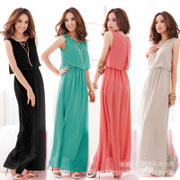 Exclusive! ML XL 4 Colors, 2014 New Hot Sale Women High Quality Pleated Bohemia Maxi Long Chiffon Dress