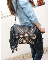 fringe bag shoulder bags tassel rivets black bag women messenger bags