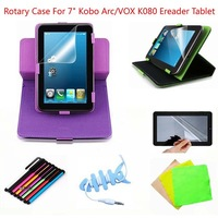 "7inch Universal Stand Rotary Leather Case+Stylus Pen+Gift Screen Protector Film For 7"" Kobo Arc/VOX K080 Ereader Tablet New"