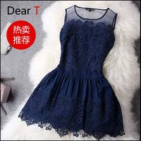 Free Shipping High Quality 2014 Fashion women Spring Summer Dress Ladies Elegant Lace Puff Mini Princess Dress