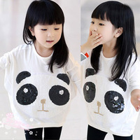 Free Shipping Wholesale (5 Size/Lot) New 2014 Childrens Kids Girls Spring Long-Sleeved Sequined Panda T-Shirt Cartoon T Shirt