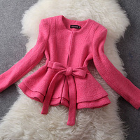 Good Quality New Fashion Women Autumn Winter Coat Cute Woolen Coat Ladies' Elegant  Outerwear Jacket with Ruffles and Sashes