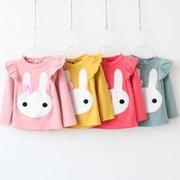 free shipping 2014Children's clothing spring female child 100% cotton cartoon t-shirt basic shirt girl kids clothes spring
