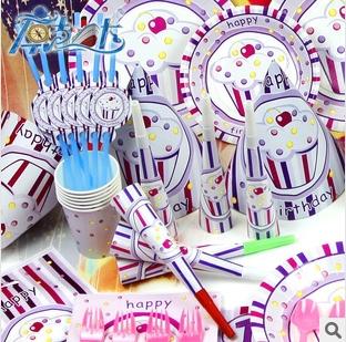 princess ice cream theme set, birthday, festive and party supplies decoration, 6 people 90pcs/lot,customer quantity ok(China (Mainland))