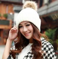 Free shipping 1 pcs 2014 pure color stripe women knitted caps Ball winter warm hat, multi-color