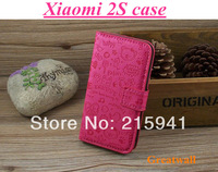 Leather pu lovely case for xiaomi 2s back case fold xiaomi 2S back cover  Free shipping