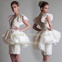 Krikor Dresses 2014 Princess Bateau Sleeveless Ruffles Knee Length Special Designer Wedding Gown Bridal Gowns Fast Shipping