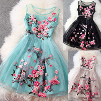 Fashion high quality pumping organza embroidery flower clothing vest one-piece dress