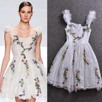 2014 spring fashion embroidered gauze lace sleeveless one-piece dress