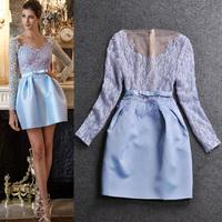 2014 women's spring fashion cutout lace patchwork organza long-sleeve dress slim