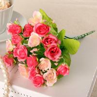 Artificial flower decoration flower artificial flower household rustic silk flower 21 diamond rose