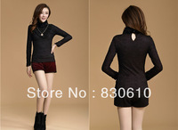 Spring new real rabbit plus thick velvet lace turtleneck shirt bottoming Korean warm Tops T-shirts