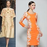 Spring New 2014 European Runway Pencil Dresses Ladies Luxury Print Slim Dress Women Embroidery Floral Cute Dress