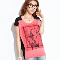 5 colors S --- XXXL new fashion 2015 summer cotton chiffon patchwork loose plus size t shirt camisetas women t-shirt tops C232