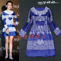 2013 autumn and winter women Warren embroidery long-sleeve dress