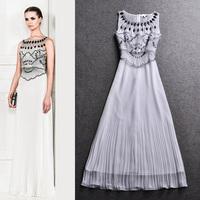 2014 women's spring fashion elegant beading long-sleeve sleeveless vest one-piece dress evening party formal dress full dress