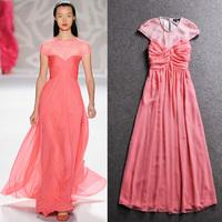 2014 spring and summer fashion short-sleeve slim one-piece dress the banquet evening dress elegant full dress