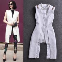 2014 spring fashion stand collar sleeveless tank dress one-piece dress formal dress full dress