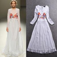 2014 fashion elegant embroidered lace long-sleeve dress formal dress full dress expansion bottom