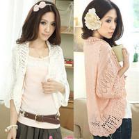 2014 summer cutout chiffon lace crochet batwing sleeve waistcoat cardigan loose sweater female thin cardigan for women F4238