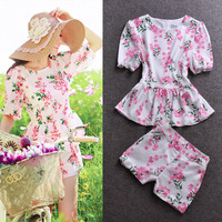 2014 women's spring print casual set top shorts