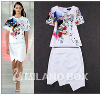 2014 summer fashion print top irregular half-skirt twinset skirt
