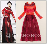 2014 spring and summer fashion elegant lace patchwork red one-piece dress full dress