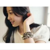 Free shopping Fashion vintage punk accessories handmade rhinestone drop cutout wide bracelet female